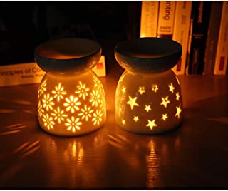 Lifestyle /& More Lampada tealight Moderna portalume Lanterna in Set di 2 Ceramica Antracite//Argento 10x7 cm