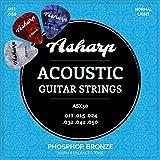 Asharp Gitarrensaiten für Westerngitarre ★ inkl. 3 Plektren ★ Premium Stahl-Saiten Satz für Akustikgitarre