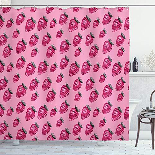 ABAKUHAUS Obst Duschvorhang, Pop Art Stil Erdbeere, mit 12 Ringe Set Wasserdicht Stielvoll Modern Farbfest & Schimmel Resistent, 175x200 cm, Hellrosa Magenta