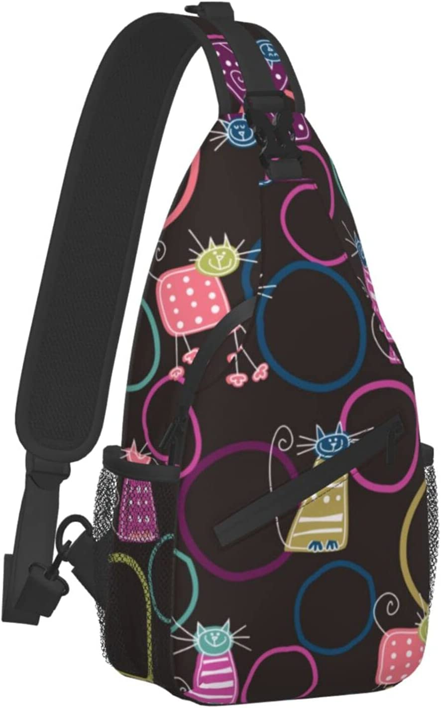 Sling Backpack NEW Travel Hiking Daypack Funny favorite Rainbow Rope Cat Art