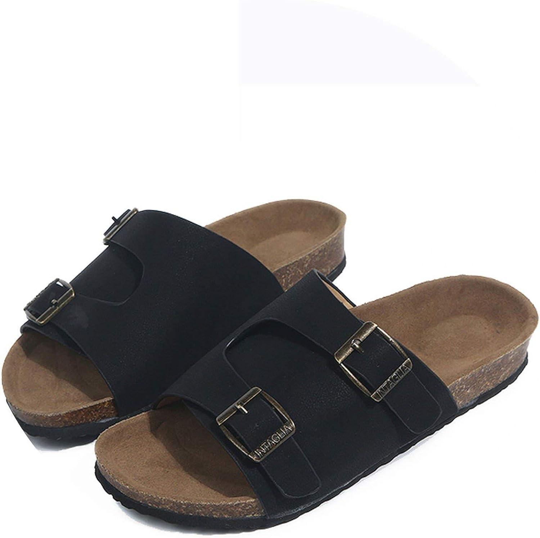 Tiwcer Cork Slippers shoes Woman Buckle Slides Ladies Flip Flop Beach Sandals Flats Heels Large Size 44