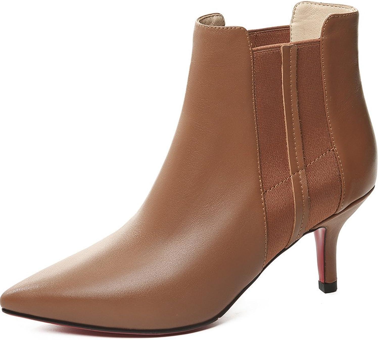 Nine Seven Genuine Leather Women's Pointed Toe Stiletto Heel Elegant Dressy Handmade Ankle High Booties