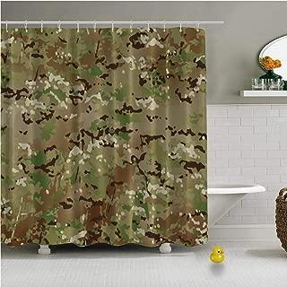 C COABALLA Crye Precision Multicam Camo Pattern Wallpaper Various Shower Curtain for Bathroom,79''L x 72''W