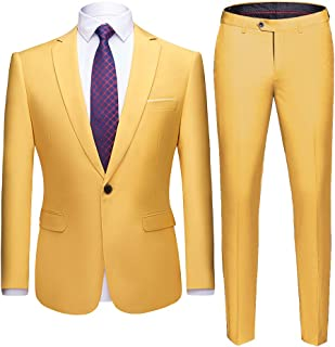 0d4885ccd WULFUL Men's Suit One Button Slim Fit 2 Piece Suit for Men Casual/Formal/