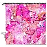 Rioengnakg Duschvorhang, schimmelresistent, Flamingo, Polyester, wasserdicht, 167,6 x 182,9 cm