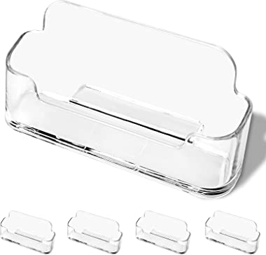 DMFLY Business Card Holder for Desk - 4 Pack Acrylic Business Card Holder Display Plastic Business Card Stand Desktop Busines
