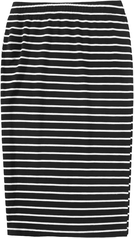 SweatyRocks Women's Casual Elastic Waist Stretch Striped Bodycon Pencil Skirt