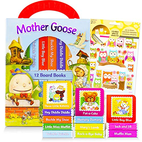 Mother Goose Books for Children Toddlers Babies Bundle ~ Pack of 12 Chunky My First Library Board Book Block with Stickers (Mother Goose Nursery Rhyme Books for Infants)