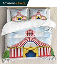 PRUNUSHOME Bedding 3 Piece Bed Sheet Set eStriped Strolling Circus Marquee Tent with Flag Artwork Holi Leisure Bathroom Crisp Bed Linen Twin