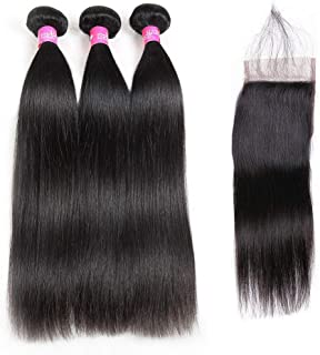 ISEE Hair 8A Malaysian Straight Hair 3 Bundles With Closure Virgin Unprocessed Human Hair Wefts Hair Extensions Deal With Mixed Lengths 18 20 22 Inches With 16 Inches Free Part Closure