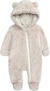 طفلة بوي الشتاء رومبير الملابس الوليد الصوف مقنعين القدمين قميص بذلة الرضع (Color : Beige, Size : 0-3 Months)