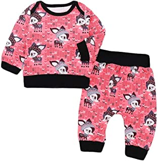 snowvirtuosau 2pcs Spring Newborn Baby Clothing Set Long Sleeve Sweatshirt Pants Outfits