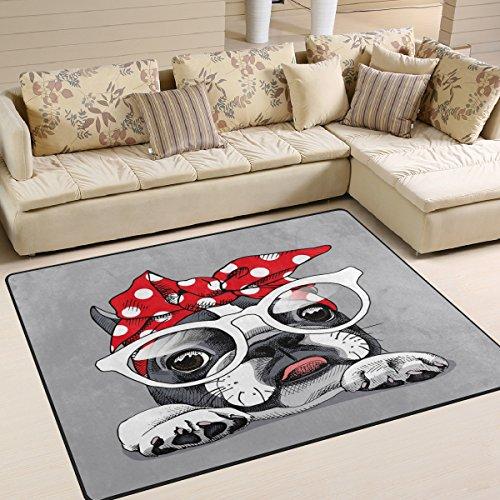 Use7 - Alfombra para salón o dormitorio (160 x 122 cm), diseño de bulldog francés