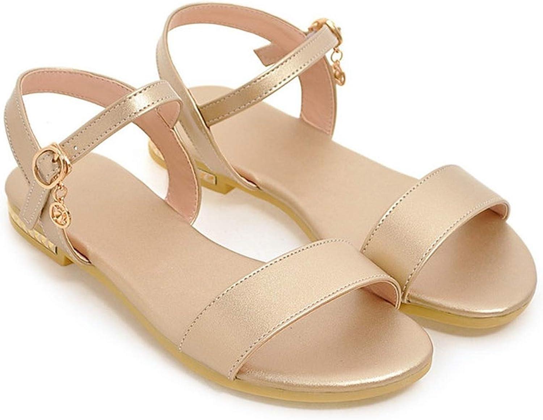 YuJi shoes Women 2019 Summer Sandals Flat Sandals Open Toe Buckle Women Flats gold Sliver 9 10