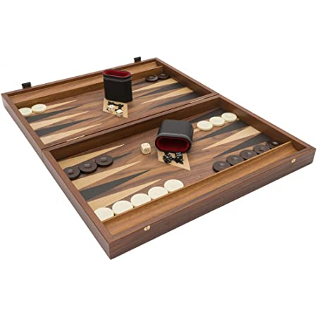 Includes 30 coloured oak wood counters a back gammon doubling die by Uber Games Mahogany Backgammon Set Great Foldable Mahogany Backgammon Boards measuring 48cm x 60cm x 4cm when open 4 standard dice 15 of each colour and a bag for storage