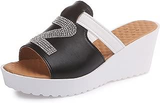 Women's Genuine Leather Platform Wedge Slide Sandals for Women Slip On Sandals