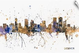 CANVAS ON DEMAND Denver Colorado Skyline, Blue Splatter Wall Peel Art Print, 36