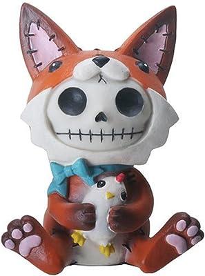 3.25 Inch Furrybone Fen The Fox Figurine with Chicken Brown