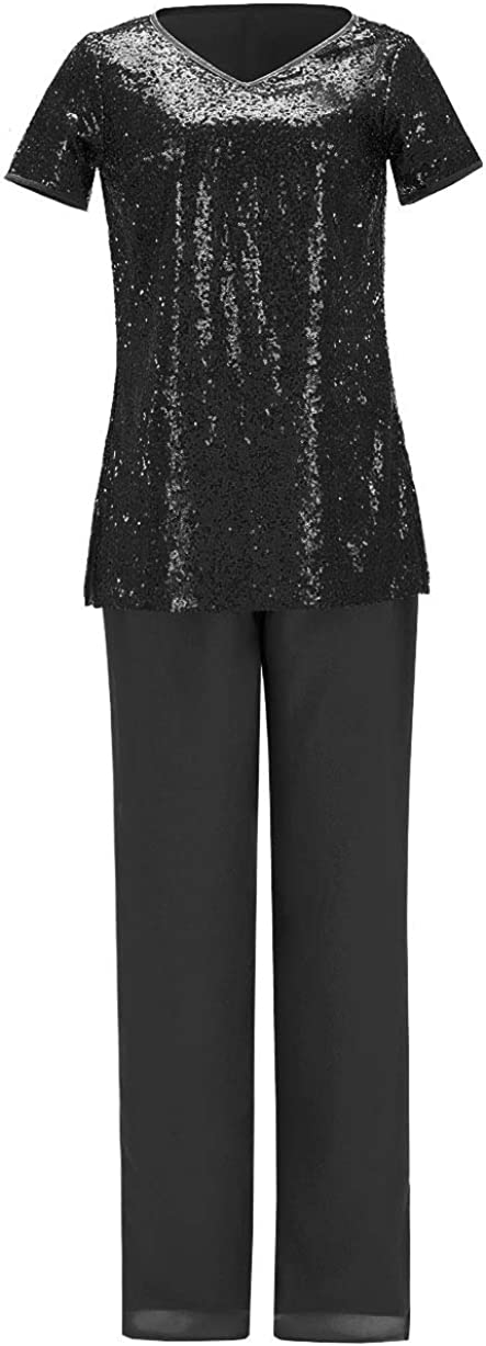 Fitty Lell Women's Groom Outfit Mother of Bride Dress Pants Suit Sequined Formal Evening Dress for Wedding