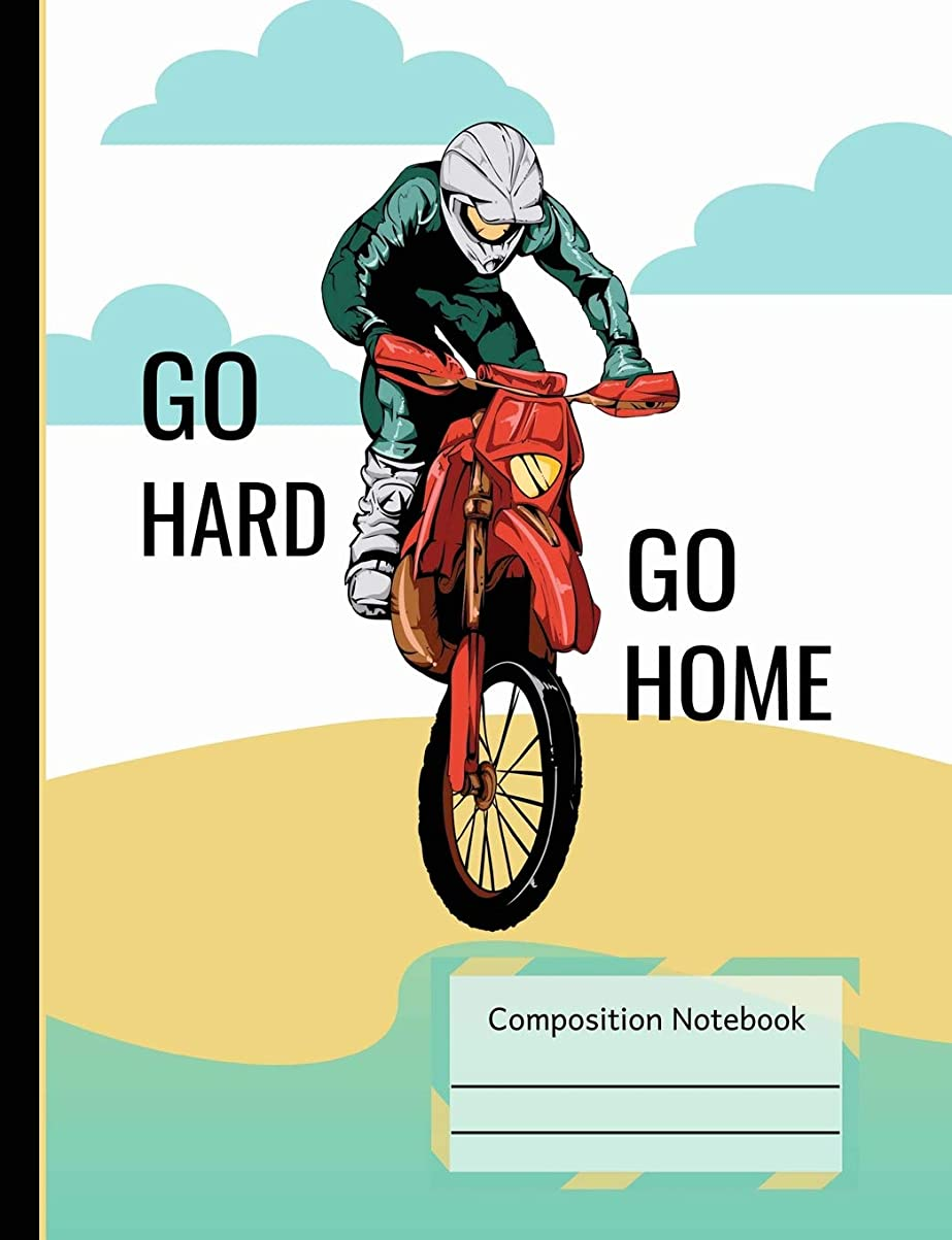 私の鉄道駅居間Dirt Bike Riding Go Hard Go Home Composition Notebook: Dot Grid Journal Book, School Teachers, Students, 200 Dotted Pages (7.44