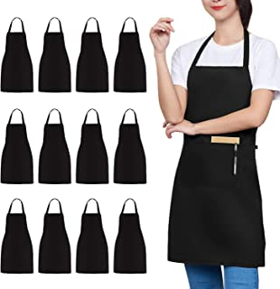 TRENDBOX 12 Pack Bib Aprons Bulk Unisex Black Apron with 2 Front Pockets 32-Inch by 28-Inch with Extra Long Ties for Kitch...