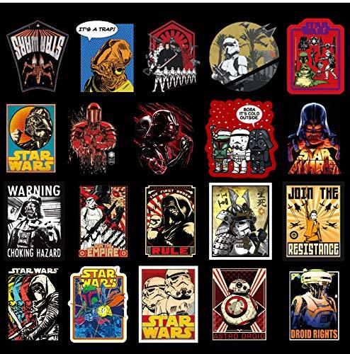 BUCUO Pegatinas de Star Wars para Ordenador portátil, Guitarra, monopatín, Maleta, Pegatinas, 100 Piezas