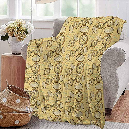 Compass Luxury Special Grade Blanket London Moscow Paris Sydney Traveling Around The World Theme Illustration Multi-Purpose use for Sofas etc. W70 x L90 Inch Mustard Multicolor