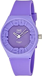 Q&Q Men's Purple Dial Rubber Band Watch - Vr36J006Y, Analog Display