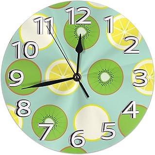 Night Ing Reloj de Pared Redondo Estante Reloj Retro Kiwi y limón Impreso para Sala de Estar/Comedor/Dormitorio/Sala de Estudio Decorativo