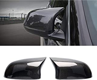 SNA Black Carbon Fiber Side Mirror Cover Cap Replacement Compatible for BMW X3 F25 X4 F26 X5 F15 X6 F16 2-pc Set