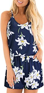 STYLEWORD Womens Summer Floral Spaghetti Strap Casual Short Jumpsuit Rompers with Pocket