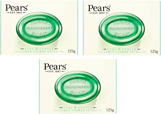 Pears Green Transparent Soap with Lemon Flower Extracts (125g)-Pack of 3