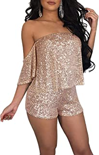 AngelSpace Womens Metallic Shimmer Clubwear One Piece Bodycon Playsuit