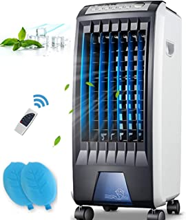 Gjfhome Climatizador Evaporativo, 4 En 1 Evaporativo/Ventilador/Humidificador/Purificador,Aire Acondicionado Móvil con 3 Velocidades(Tanque 5 litros/Temporizador 7.5 Horas/400 M³/H) Mando A Distancia