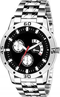TIMESOON Stainless Steel Black Dial Analog Mens Watch