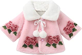 BigForest Baby Infant Girls Coat Faux Fur Long Sleeve Cape Cloak Jackets with rose Warm Outwear Winter Clothes