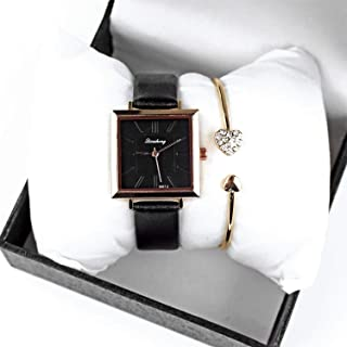 Women's Leather Strap Dress Watch Square face Wrist Watch for Women
