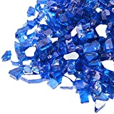 GASPRO 10-Pound Fire Glass -1/2 Inch Reflective Tempered Fire Glass for Propane Fire Pit, Fire Pit Glass Rock for Gas Fireplace, Cobalt Blue Reflective