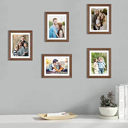 Art Street Set of 5 Brown Wall Photo Frame, Picture Frame for Home Decor with Free Hanging Accessories (Size -8x10 Inchs)