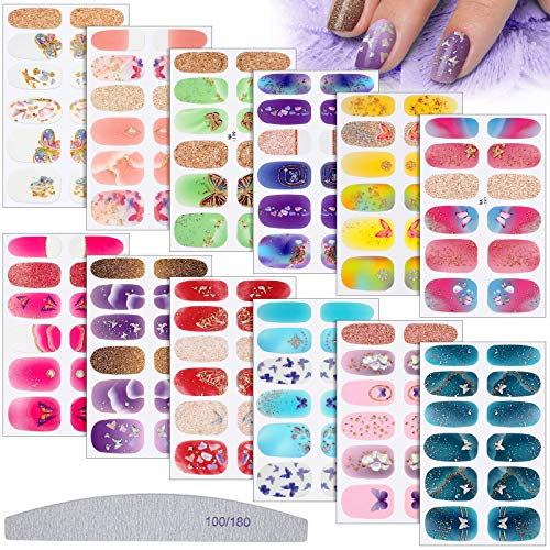 12 Sheets Butterfly Full Nail Sticker Flower Full Nail Wraps Spring Nail Polish Stickers Self-Adhesive Full Cover Nail Art Stickers Nail Decal Strips with Nail File (Floral Butterfly Style)