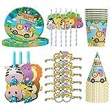 Hilloly Set de Fiesta de Tema de animales de la selva, 36 Piezas Vajilla de Fiesta de Tema de animales de la selva, Accesorio de Decoración Fiesta de Cumpleaños Desechable, Para 6 Personas