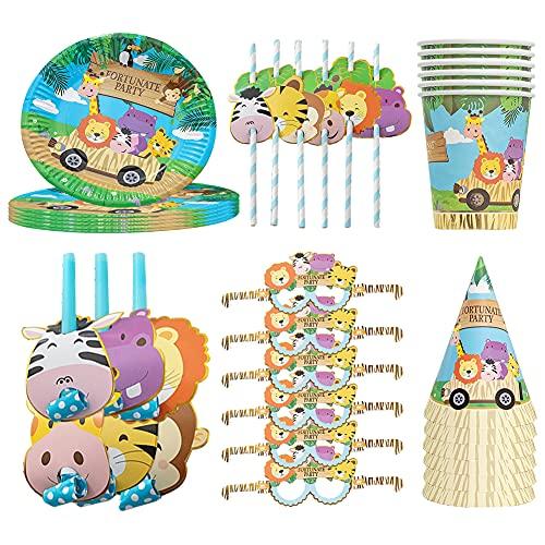Hilloly Kit Compleanno Tema degli animali della giunglaFesta, Tema degli animali della giungla Set di Stoviglie 36 Pezzi, Kit di Decorazioni di Compleanno, Serve 6 Ospiti