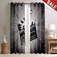 Hengshu Movie Theater Blackout Draperies for Bedroom Clapper Board on Retro Backdrop with Grunge Effect Director Cut Scene Thermal Insulating Blackout Curtain W96 x L108 Inch Grey Black White