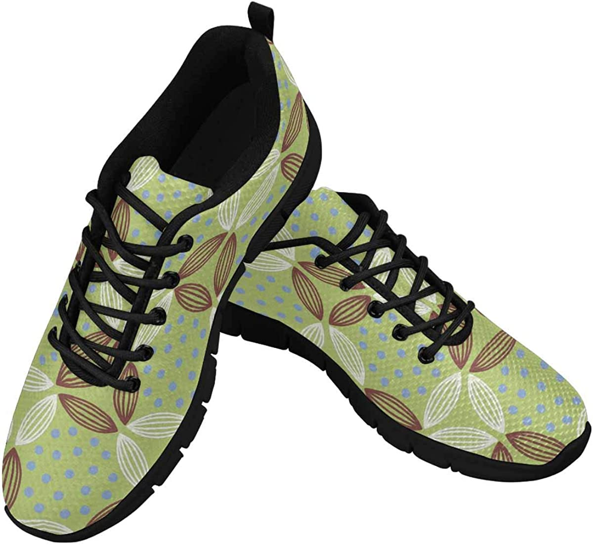 InterestPrint Abstract Dots Pattern Women's Lace Up Breathable Non Slip Sneaker