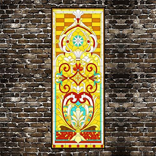 Privacidad Pegatina, Pelicula decorativa Vidrieras Impermeable Ventana Pegatina para Cuarto de baño Cuarto de niños Puerta corredera Ventana Láminas-Un01(Adhesivo)Translúcido-50x120Cm(20x47Pul
