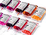 WYNK Blood Bag IV Bags Drink Cups - Set of 10 Blood Bags for Drink, 11.5 FL Oz, with Extra Syringe Set of Labels and Clips, Halloween/Vampire/Zombie/Nurse Graduation/Hospital Theme Party Favors