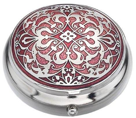 Sea Gems presented by Celtic Glass Designs Pill Box (Standard Size) in an Arabesque Design in Red Color