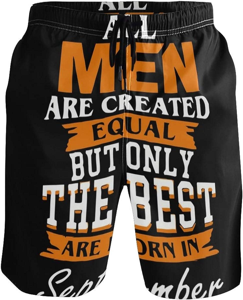 Swim Trunks with Men Born in September Print, Beach Short Beachwear for Men Boys S