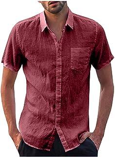 Camisa Con Botones De Camisa Con Lino Solapa Para Tamaños Cómodos Hombres Camiseta Blusa Para Hombres Camisetas De Manga C...