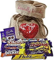 British Cadbury Variety in Limited Edition Basically British Burlap Bag with Sequin Heart